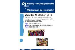 Kleding- en speelgoedmarkt in Wijkcentrum De Huesmolen