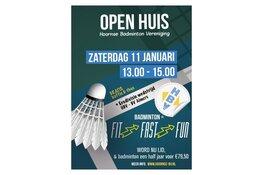 Open Dag bij Hoornse Badmintonvereniging op 11 januari