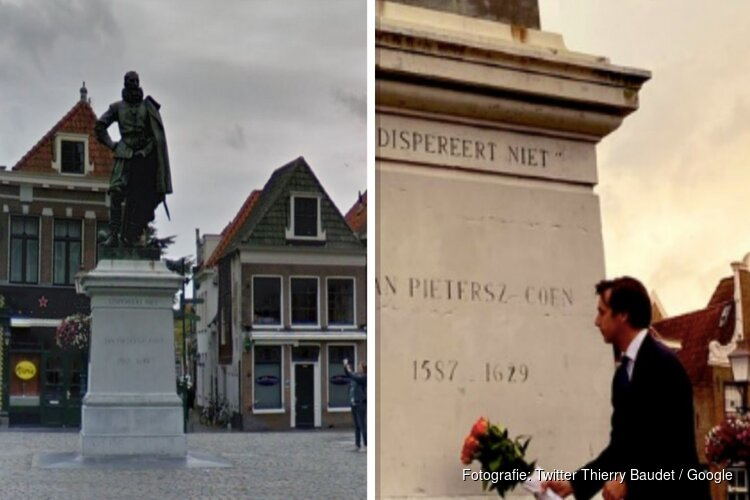 Thierry Baudet legt bloemen bij standbeeld J.P. Coen in Hoorn en doet oproep