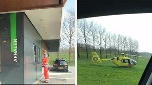 Traumahelikopter landt bij McDrive voor versnapering